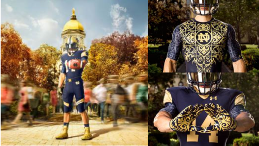 Uniform, base layer, and gloves. Photo: Under Armour and Notre Dame Football.